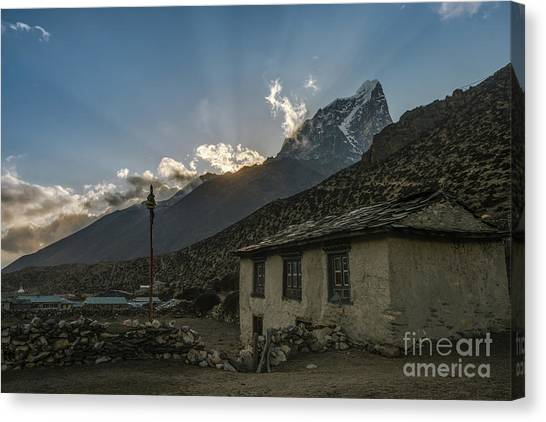 K2 Canvas Print - Dingboche Nepal Sunrays by Mike Reid