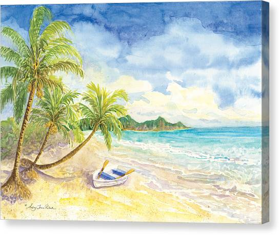 Dinghy Canvas Print - Dinghy On The Tropical Beach With Palm Trees by Audrey Jeanne Roberts