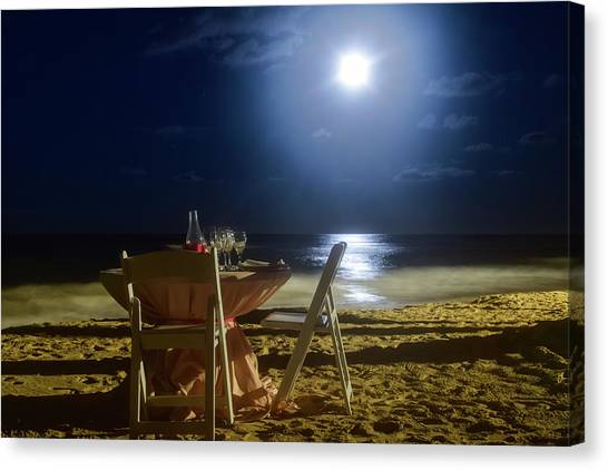 Dinner For Two In The Moonlight Canvas Print