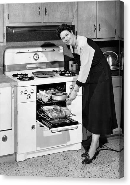 Economics Canvas Print - Dinner In The Oven by Underwood Archives