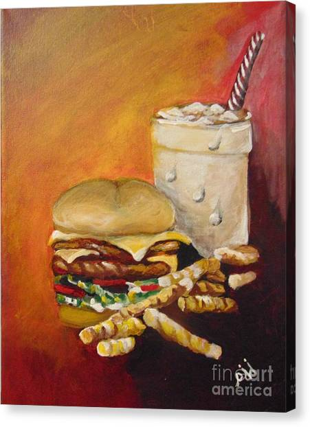 Canvas Print featuring the painting Dinner Time by Saundra Johnson