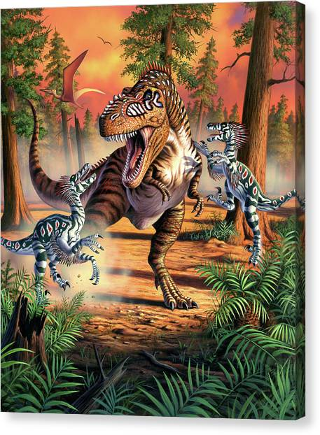 Velociraptor Canvas Print - Dino Battle by Jerry LoFaro