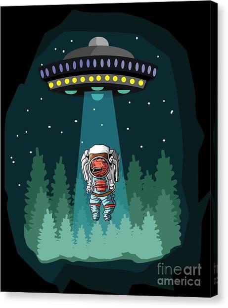 Canvas Print - Dinosaur Astronaut Ufo Trex by Thomas Larch
