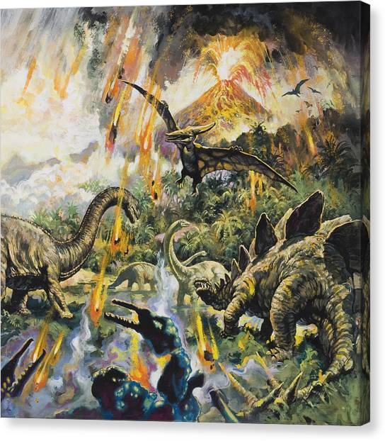 Pterodactyls Canvas Print - Dinosaurs And Volcanoes by English School