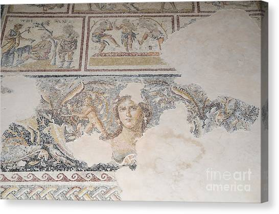 Byzantine Art Canvas Print - Dionysus Mosaic Mona Lisa Of The Galilee by Ilan Rosen