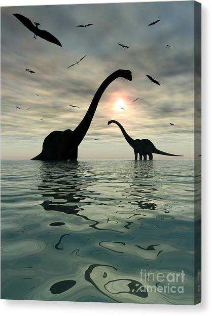 Pterodactyls Canvas Print - Diplodocus Dinosaurs Bathe In A Large by Mark Stevenson