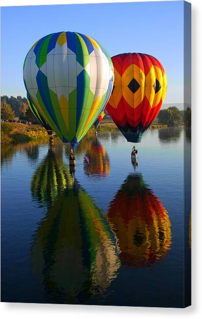 Hot Air Balloons Canvas Print - Dipping The Basket by Mike  Dawson