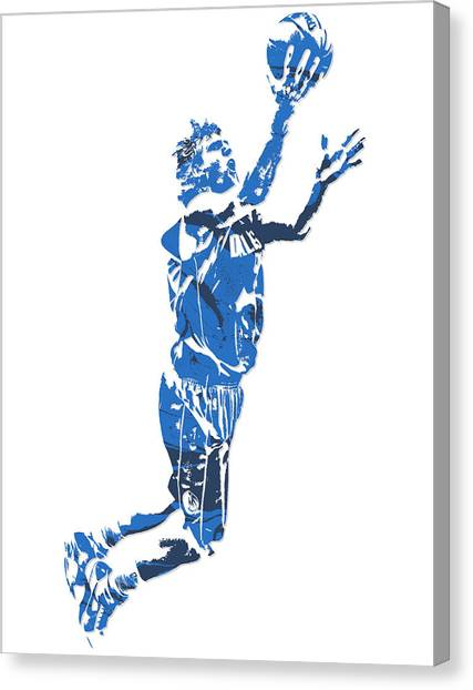 Dallas Mavericks Canvas Print - Dirk Nowitzki Dallas Mavericks  Pixel Art 7 by Joe Hamilton