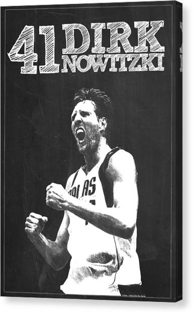 Stephen Curry Canvas Print - Dirk Nowitzki by Semih Yurdabak