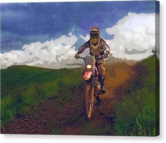 Dirt Bikes Canvas Print - Dirt Biker On Country Road by Elaine Plesser