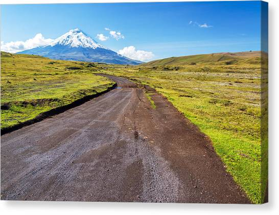 Cotopaxi Canvas Print - Dirt Road And Cotopaxi Volcano by Jess Kraft