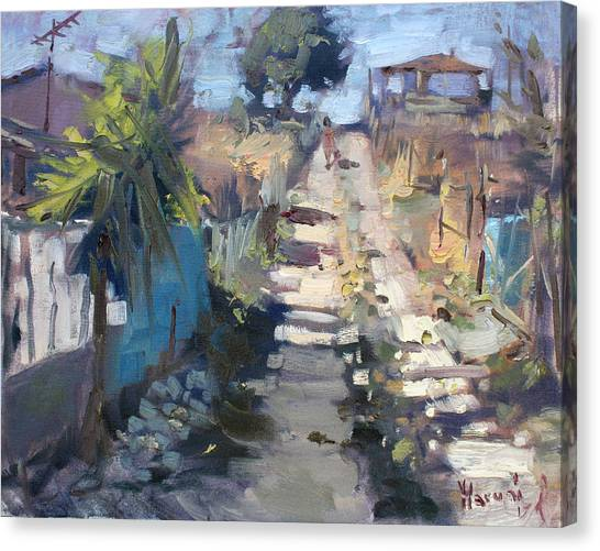 Dirt Road Canvas Print - Dirt Road At Kostas Garden by Ylli Haruni