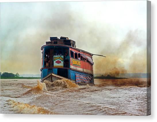Amazon River Canvas Print - Dirty Amazon River Boat by Jess Kraft