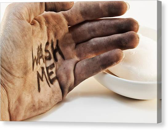 Flu Canvas Print - Dirty Hand With Soap by Blink Images
