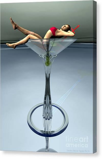 Canvas Print featuring the digital art Dirty Martini by Sandra Bauser Digital Art