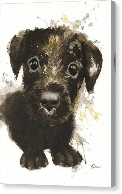 Watercolor Pet Portraits Canvas Print - Dirty Puppy by Kathleen Wong