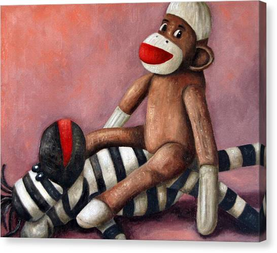Gorillas Canvas Print - Dirty Socks 3 Playing Dirty by Leah Saulnier The Painting Maniac