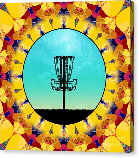 Disc Golf Canvas Print - Disc Golf Abstract Basket 4 by Phil Perkins