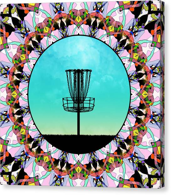 Disc Golf Canvas Print - Disc Golf Basket by Phil Perkins