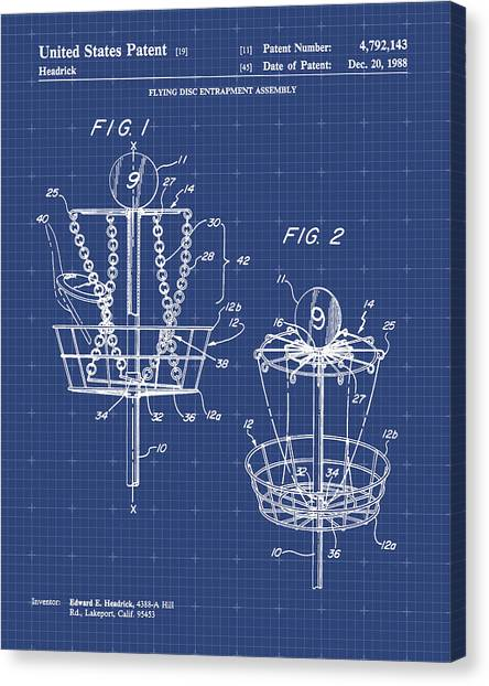 Disc Golf Canvas Print - Disc Golf Patent Print by Visual Design