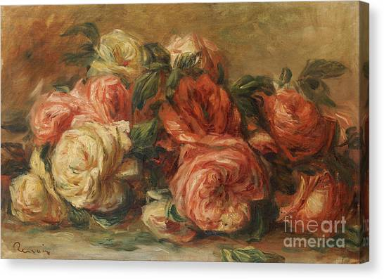 Laying Canvas Print - Discarded Roses  by Pierre Auguste Renoir