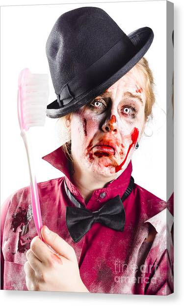 Toothbrush Canvas Print - Diseased Woman With Big Toothbrush by Jorgo Photography - Wall Art Gallery