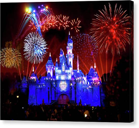 Beauty Mark Canvas Print - Disneyland 60th Anniversary Fireworks by Mark Andrew Thomas