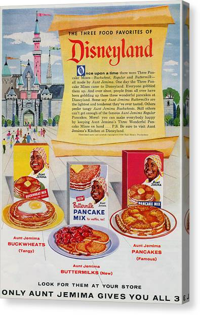 Canvas Print featuring the digital art Disneyland And Aunt Jemima Pancakes  by ReInVintaged