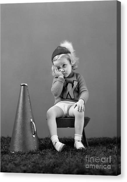 Cheerleading Canvas Print - Dispirited Little Cheerleader, C.1940s by H. Armstrong Roberts/ClassicStock