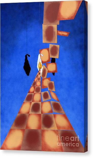 Disrupted Egg Path On Blue Canvas Print