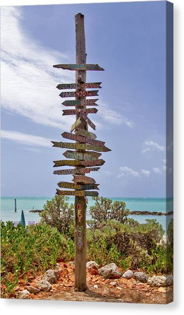 Canvas Print featuring the photograph Distance From Key West by Bob Slitzan