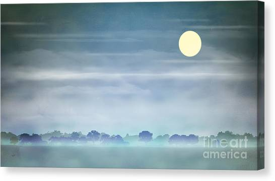 Sunrise Horizon Canvas Print - Distant Blue Haze by Peter Awax