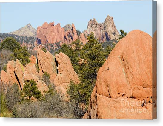 Distant Garden Of The Gods From Red Rock Canyon Canvas Print