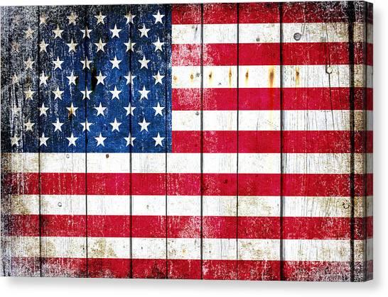 Distressed American Flag On Wood Planks - Horizontal Canvas Print