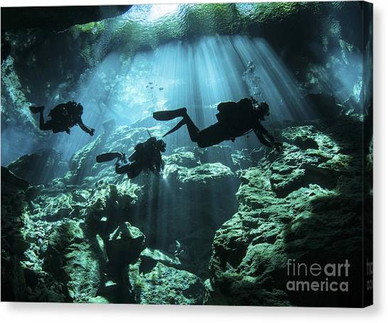 Spelunking Canvas Print - Diver Enters The Cavern System by Karen Doody