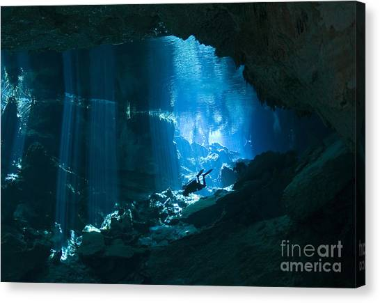 Spelunking Canvas Print - Diver Enters The Cavern System N by Karen Doody