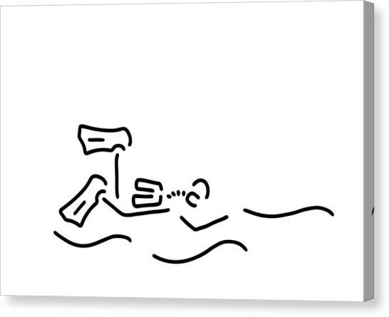 Snorkling Canvas Print - Divers Dip Oxygen by Lineamentum