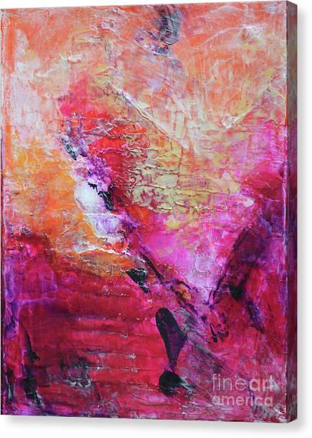 divine heart abstract orange pink heart painting 8x10 original