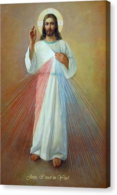 Temple Canvas Print - Divine Mercy - Jesus I Trust In You by Svitozar Nenyuk