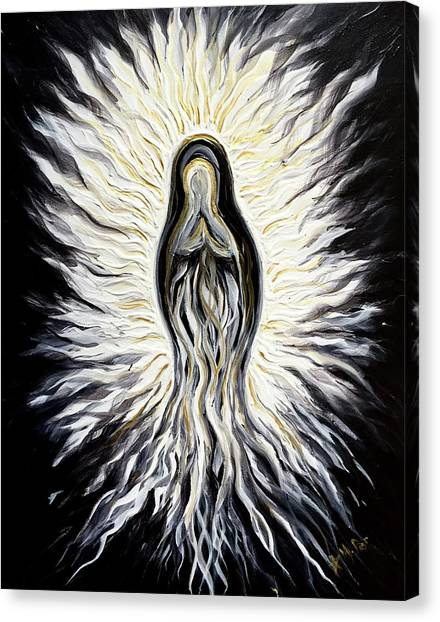 Divine Mother Black And White Canvas Print