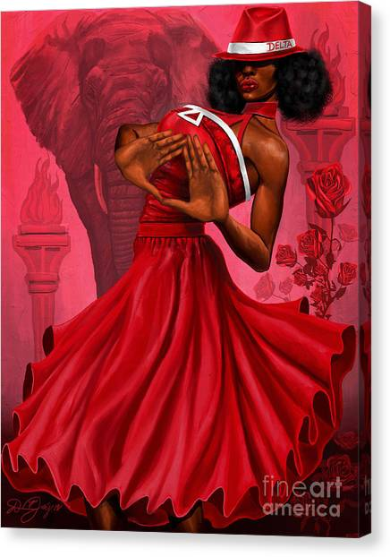 Delta Sigma Theta Canvas Print - Divine Red And White by The Art of DionJa'Y