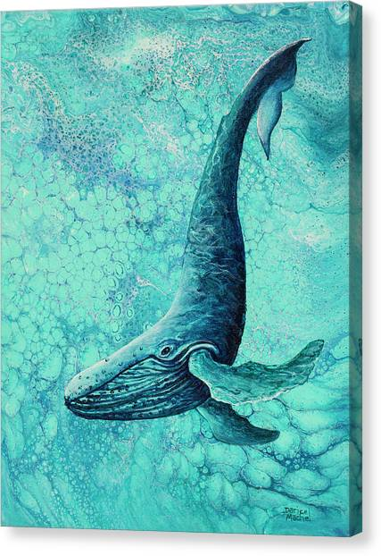 Canvas Print featuring the painting Diving Into Blue by Darice Machel McGuire