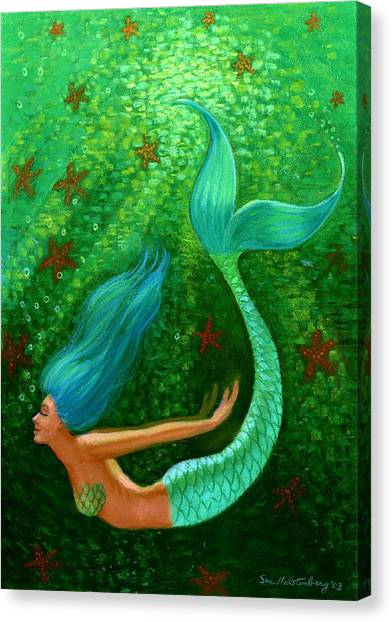 Mermaid Canvas Print - Diving Mermaid Fantasy Art by Sue Halstenberg