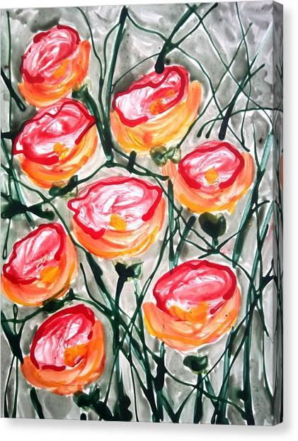 Divne Flowers Canvas Print by Baljit Chadha