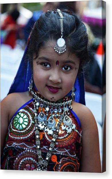 Diwali Canvas Print - Diwali Festival Nyc 2017 Young Girl In Traditional Dress by Robert Ullmann