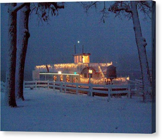 Dixie Boat Christmas Canvas Print