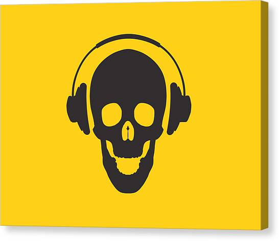 Skulls Canvas Print - Dj Skeleton by Pixel Chimp