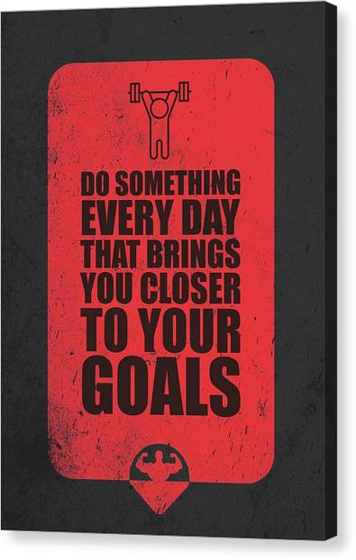 Gym Canvas Print - Do Something Every Day Gym Motivational Quotes Poster by Lab No 4