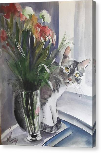 Do You See Me? Pet Portrait In Watercolor .modern Cat Art With Flowers  Canvas Print