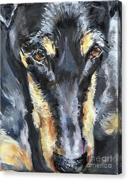 Doberman Pinschers Canvas Print - Doberman Oil Painting by Maria's Watercolor